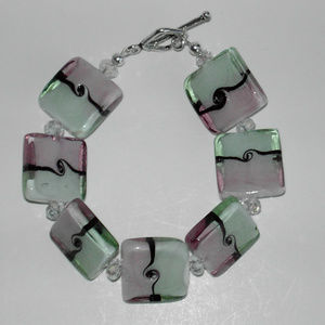 "Pink/green glass bracelet  7.75"" (#392)"